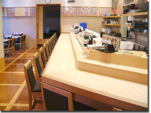 寿司店の対面カウンター・木製オーダー家具(東京都足立区)